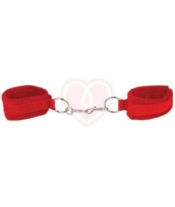Мягкие наручники Ouch! Velcro Cuffs красные
