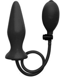 Расширяющаяся анальная пробка Ouch! Inflatable Silicone Plug чёрная