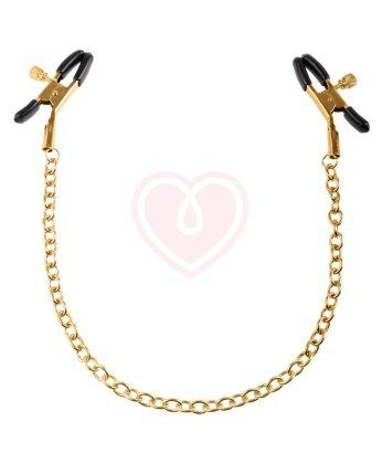 Зажимы на соски Pipedream Gold Chain Nipple Clamps чёрные с золотом