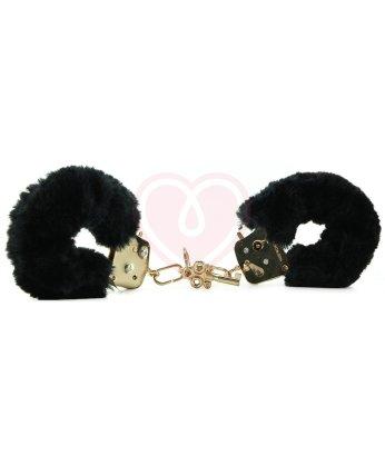 Наручники с мехом Pipedream Gold Deluxe Furry Cuffs чёрные с золотом