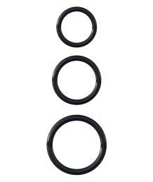 Набор из 3 эрекционных колец Silicone 3-Ring Stamina Set чёрные