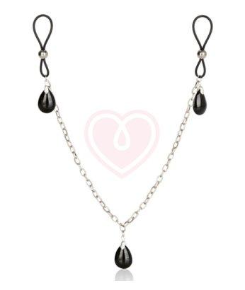 Зажимы на соски с цепочкой и кристаллами Nipple Play Non-Piercing Chain Jewelry Onyx