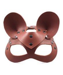 Натуральная кожаная маска мышки с ушками