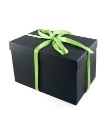 Высокая средняя подарочная коробка 25х18 см чёрная