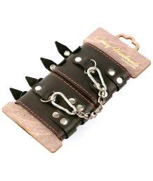 Наручники из кожи с двумя ремнями и чёрной подкладкой Crazy Handmade