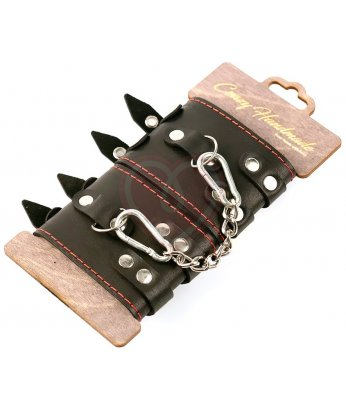 Наручники из кожи с двумя ремнями и черной подкладкой Crazy Handmade