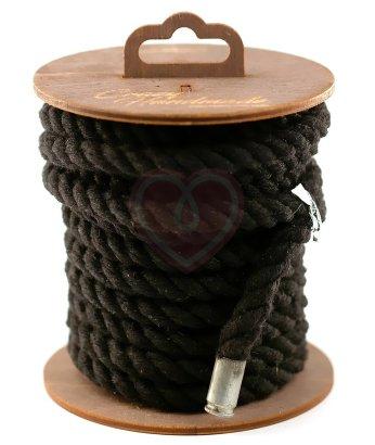 Хлопковая веревка для шибари на катушке черная 5 м
