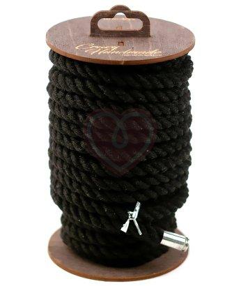 Хлопковая веревка для шибари на катушке черная 10 м