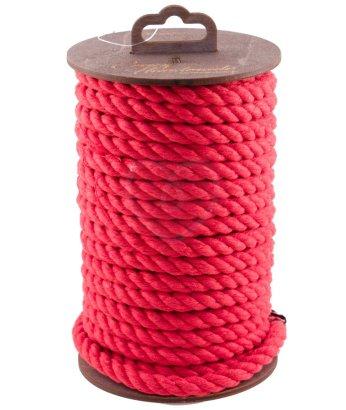 Хлопковая веревка для шибари на катушке красная 10 м