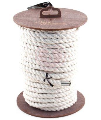 Хлопковая веревка для шибари на катушке белая 20 м