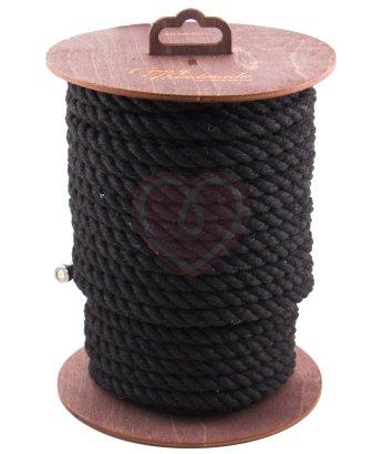 Хлопковая веревка для шибари на катушке черная 20 м