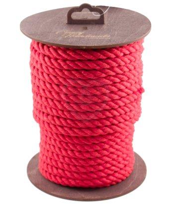 Хлопковая веревка для шибари на катушке красная 20 м