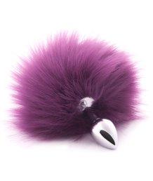 Анальная пробка с фиолетовым хвостиком Crazy Handmade