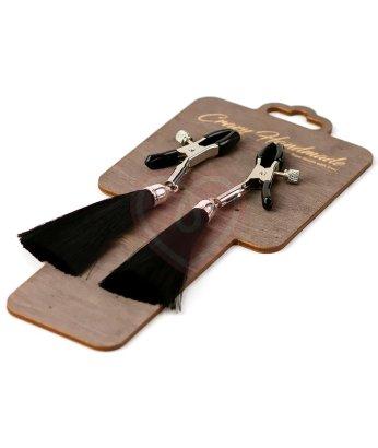 Зажимы-прищепки на соски с чёрными шёлковыми кисточками