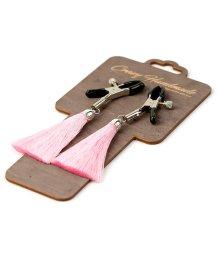 Зажимы-прищепки на соски с розовыми шёлковыми кисточками