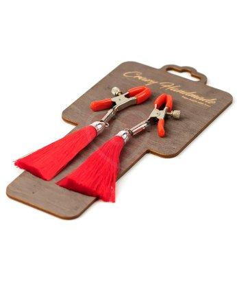 Зажимы-прищепки на соски с красными шёлковыми кисточками