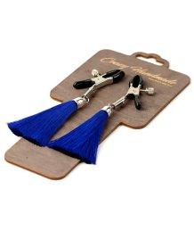 Зажимы-прищепки на соски с синими шёлковыми кисточками