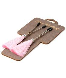 Зажимы-вилки на соски с розовыми шёлковыми кисточками