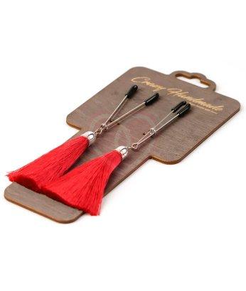 Зажимы-вилки на соски с красными шёлковыми кисточками