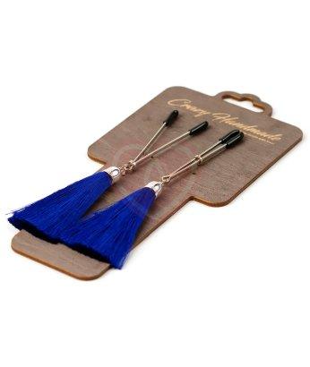 Зажимы-вилки на соски с синими шёлковыми кисточками