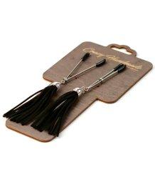 Зажимы-вилки на соски с чёрными кисточками из замши