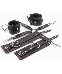 Кожаные наручники и оковы с крестовиной Crazy Handmade