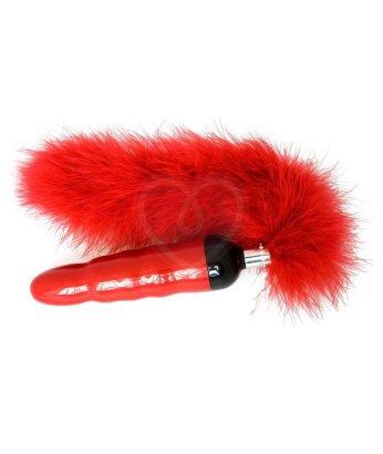 Дизайнерский вибратор с пушистым хвостиком Shiri Zinn Minx красный