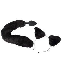 Анальная пробка с хвостом и ушки кошки Pet Play Plug and Ears