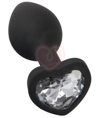 Анальная пробка You2Toys с прозрачным кристаллом-сердечко