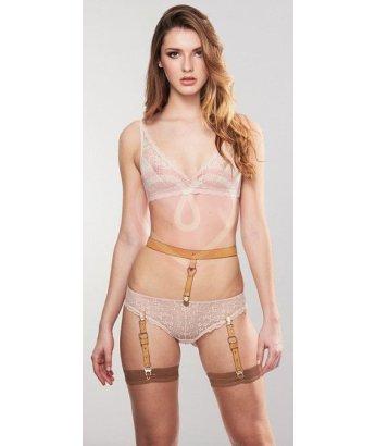 Подтяжки для нижнего белья и чулок Bijoux Indiscrets Suspender Belt бежевые