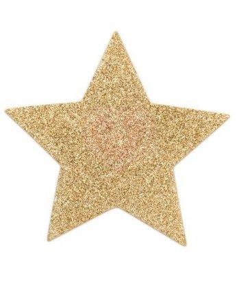 Наклейки для груди в форме звезды Bijoux Indiscrets Flash Star золотистые