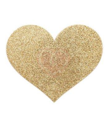 Наклейки для груди в форме сердечка Bijoux Indiscrets Flash Heart золотистые