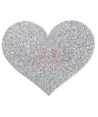 Наклейки для груди в форме сердечка Bijoux Indiscrets Flash Heart серебристые
