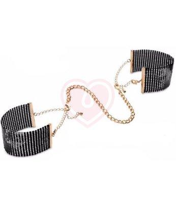 Металлические наручники Bijoux Indiscrets Metallic Mesh Handcuffs чёрные