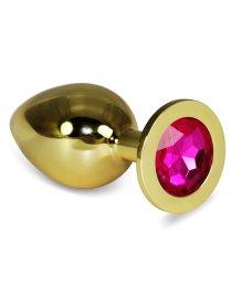 Анальная пробка Gold большая с малиновым кристаллом