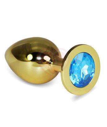 Анальная пробка Gold большая с голубым кристаллом