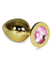 Анальная пробка Gold большая с розовым кристаллом
