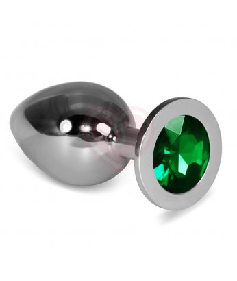Анальная пробка Silver большая с зелёная кристаллом