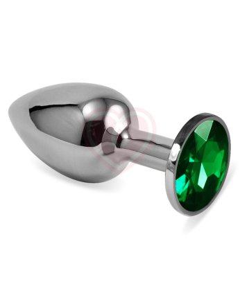 Анальная пробка Silver с зелёным кристаллом