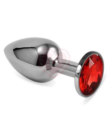 Анальная пробка Silver с красным кристаллом