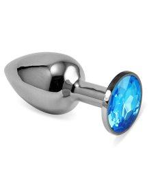 Анальная пробка Silver с голубым кристаллом