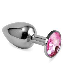 Анальная пробка Silver с розовым кристаллом