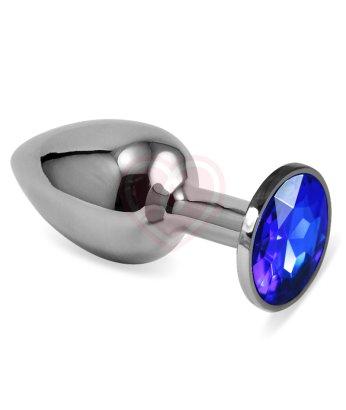 Анальная пробка Silver с синим кристаллом