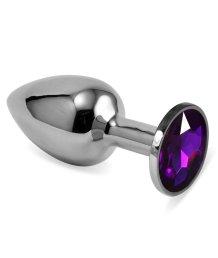 Анальная пробка Silver с фиолетовым кристаллом