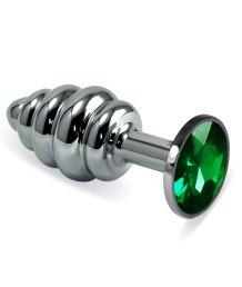 Анальная пробка Silver спираль с зелёным кристаллом