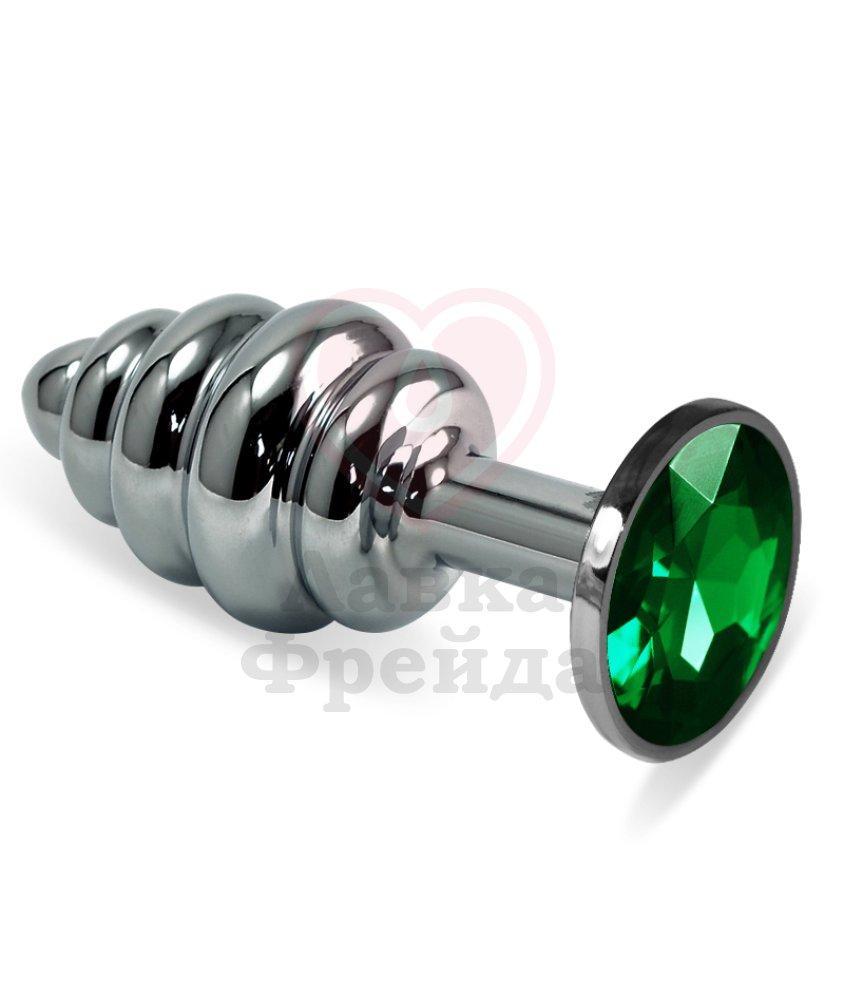 Анальная пробка из силикона черная с зеленым кристаллом
