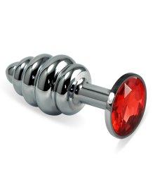 Анальная пробка Silver спираль с красным кристаллом