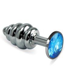 Анальная пробка Silver спираль с голубым кристаллом