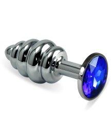 Анальная пробка Silver спираль с синим кристаллом
