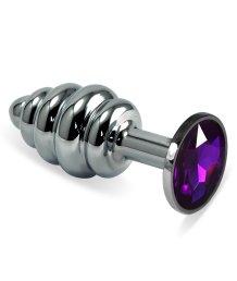 Анальная пробка Silver спираль с фиолетовым кристаллом
